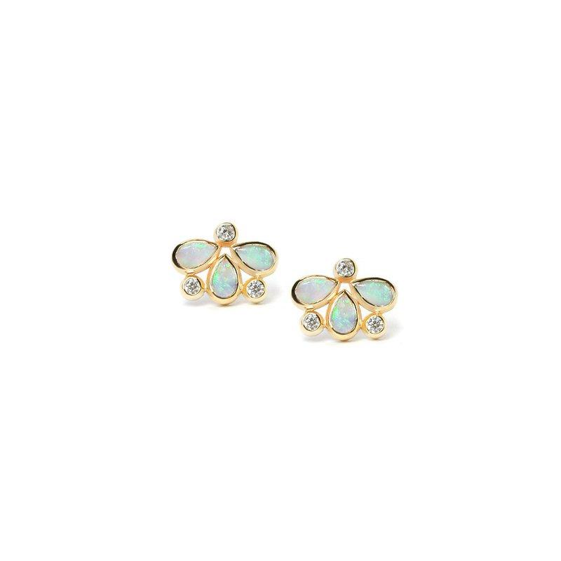 Anzie Opal & Diamond Post Earrings