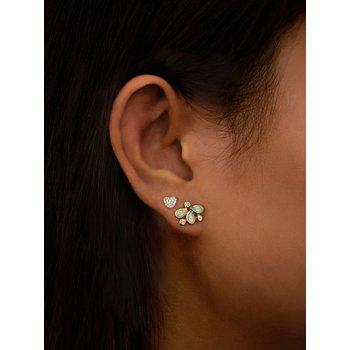 Opal & Diamond Post Earrings