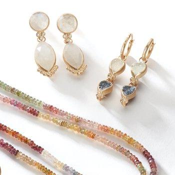 Moonstone & Diamond Post Earrings