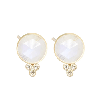MOONSTONE ROUND 18K STUD EARRINGS