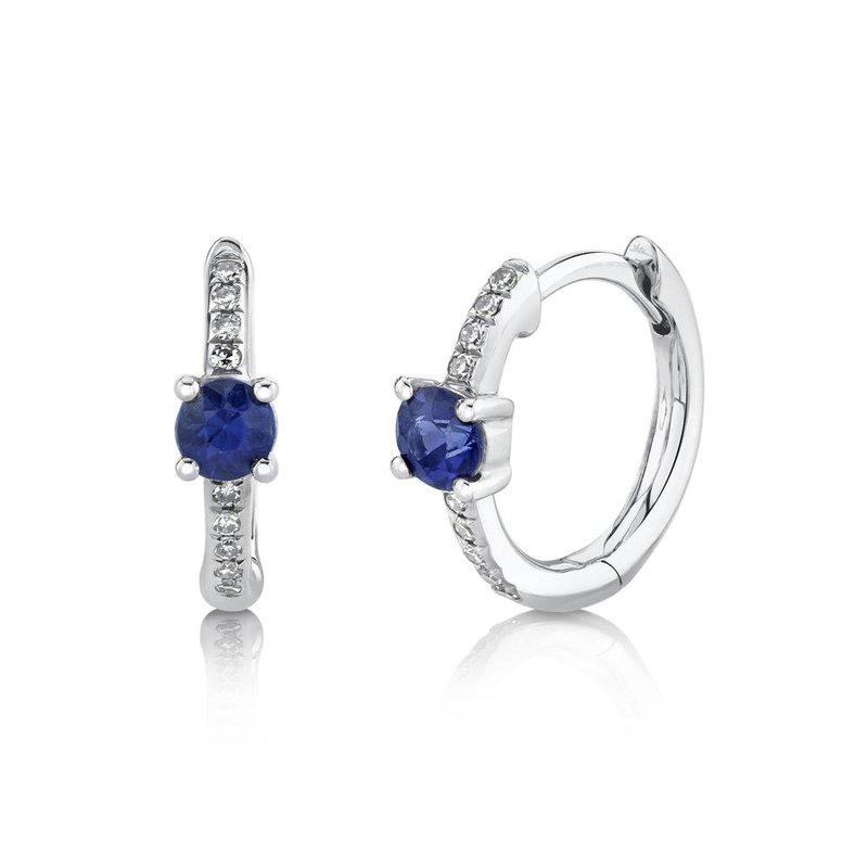 Shy Creation Blue Sapphire & Diamond Huggie Earrings