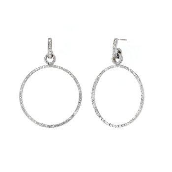 2.41 ctw Diamond Drop Round Hoop Post Earrings