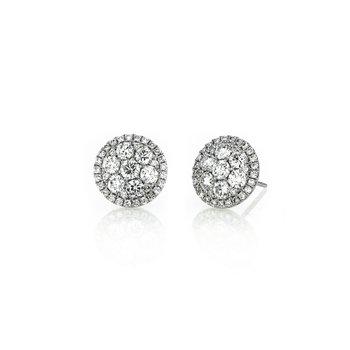 2.00 ctw Diamond Halo Cluster Post Earrings