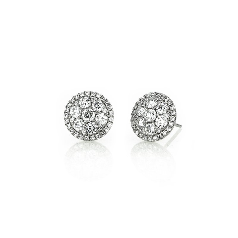 Continental Collection 2.00 ctw Diamond Halo Cluster Post Earrings