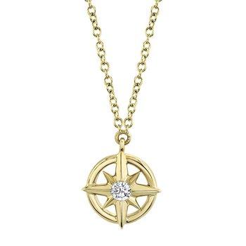 0.05 ctw Diamond Compass Necklace