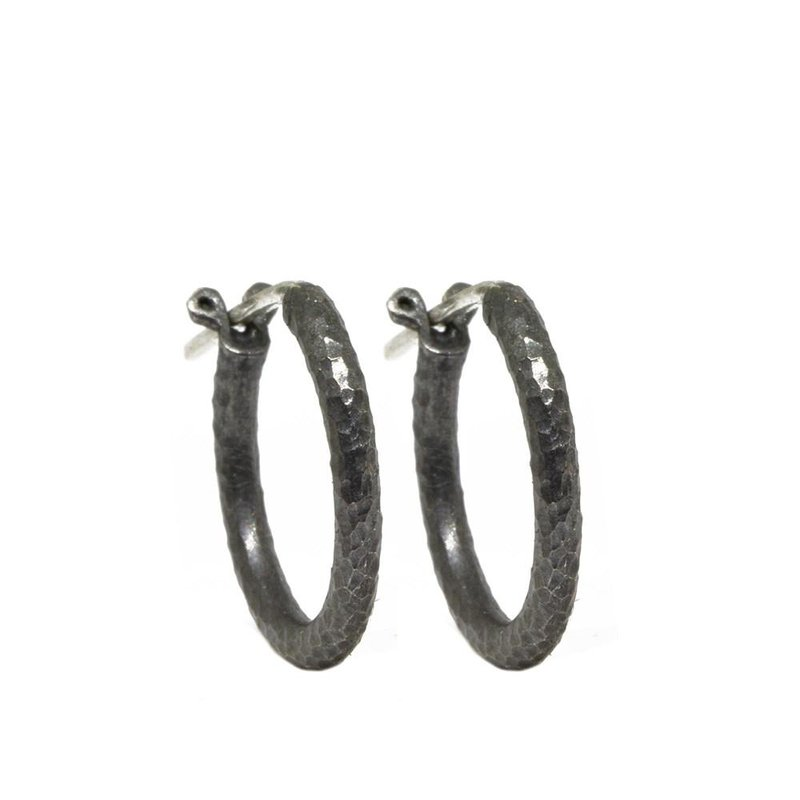 Nina Nguyen Designs Oxidized Silver Hoop Earrings