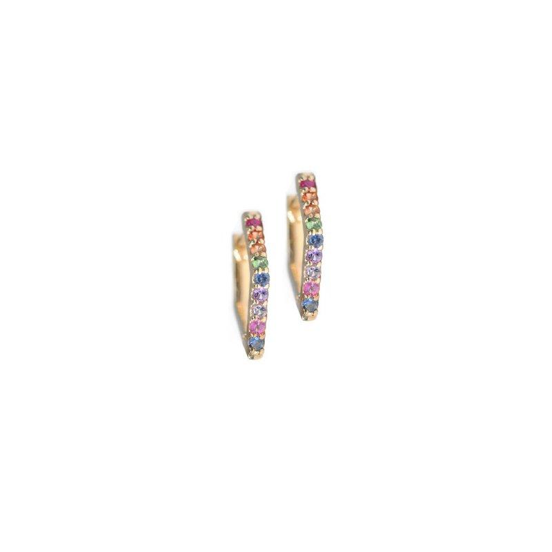 Anzie Cléo Geometric Multicolored Sapphires Huggies