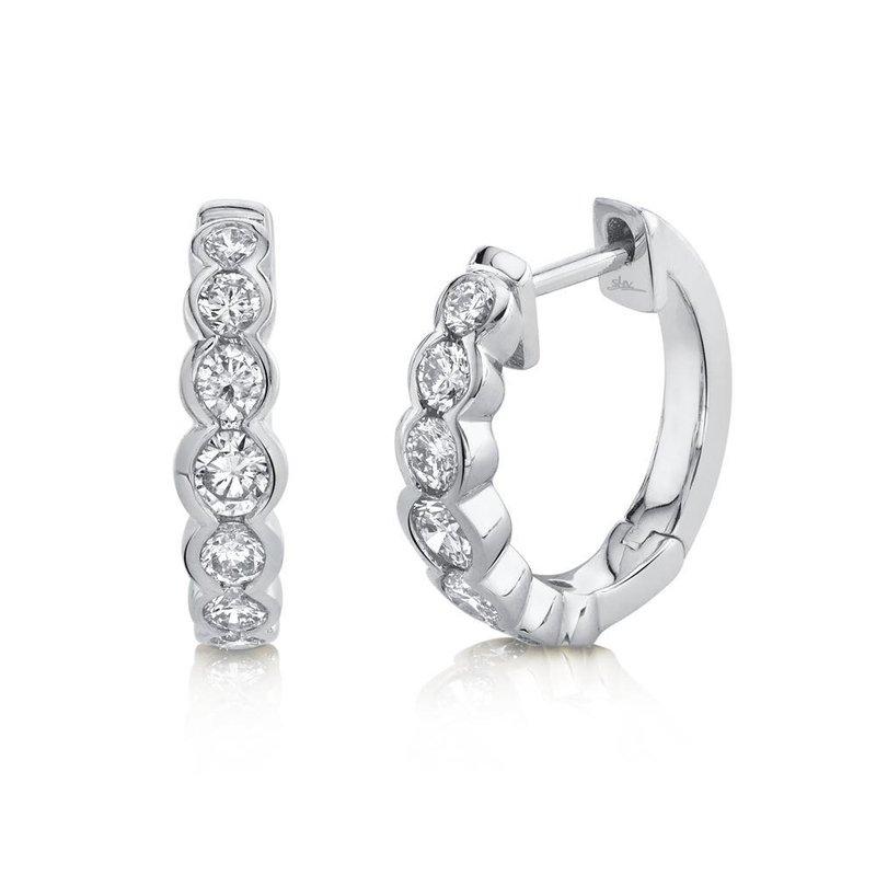 Shy Creation 0.60 ctw Diamond Bezel Huggie Earrings