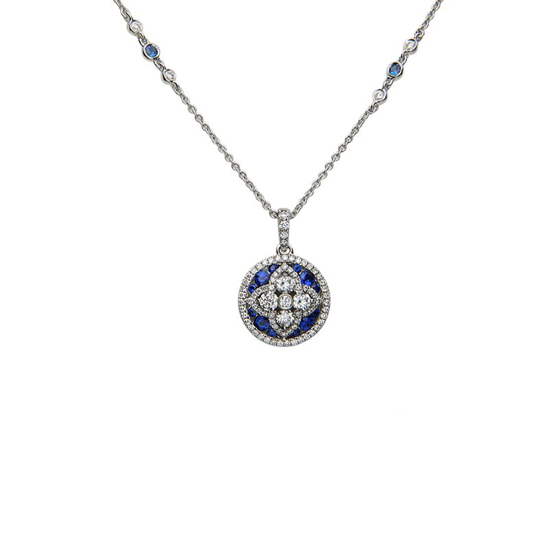 Charles Krypell Blue Sapphire & Diamond Necklace