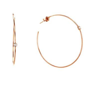 0.13 ctw Diamond Large Hoop Post Earrings