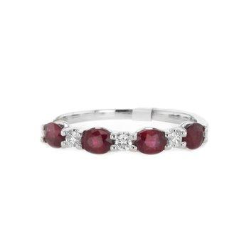 Oval Ruby & Round Diamond Band