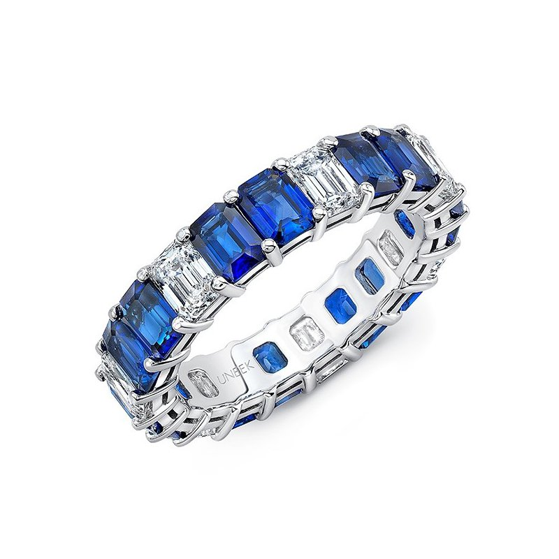 Uneek Fine Jewelry Eternity Emerald Blue Sapphire & Diamond Band