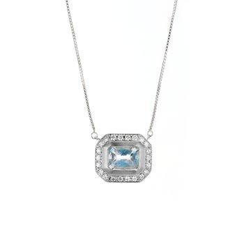 Aquamarine & Diamond Halo Necklace