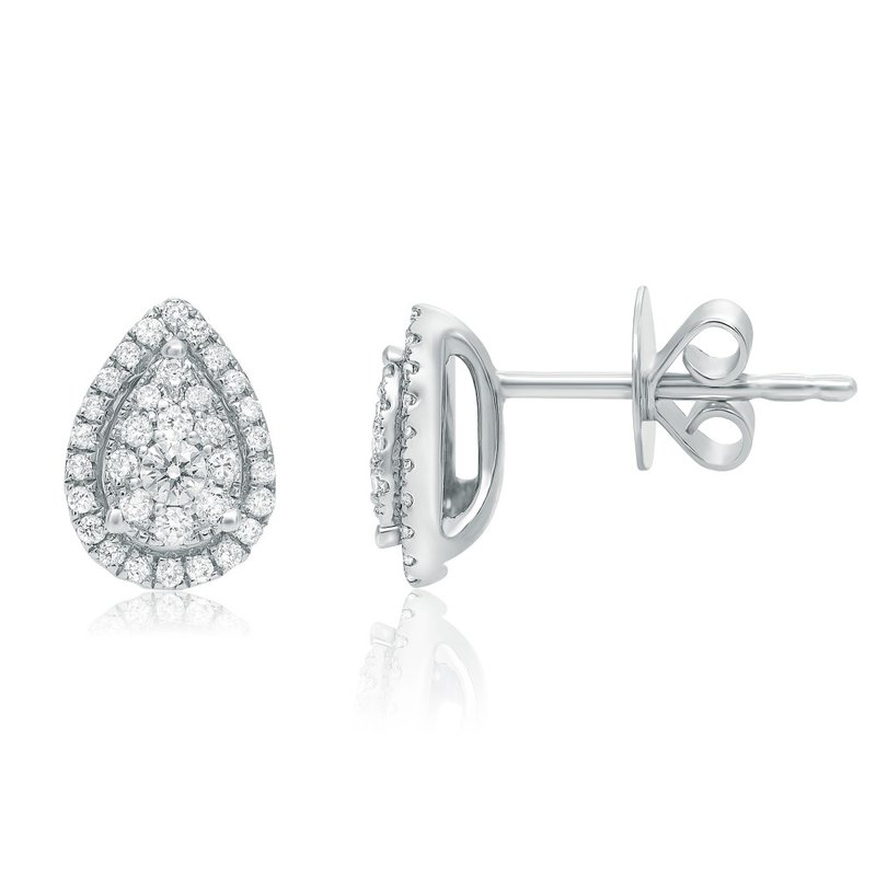 Continental Collection 0.28 ctw Diamond Cluster Post Earrings