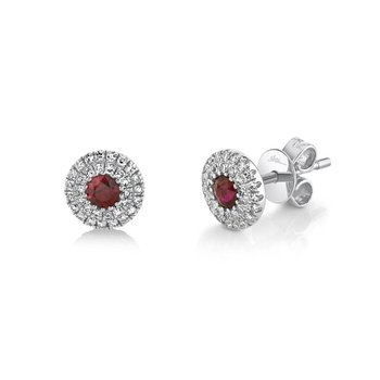 Ruby & Diamond Halo Post Earrings