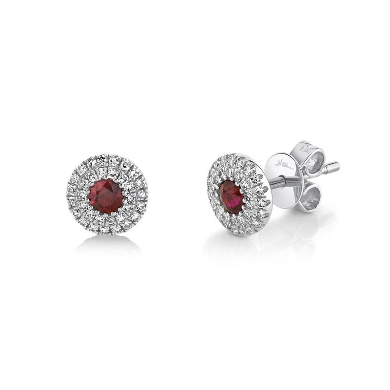 Shy Creation Ruby & Diamond Halo Post Earrings
