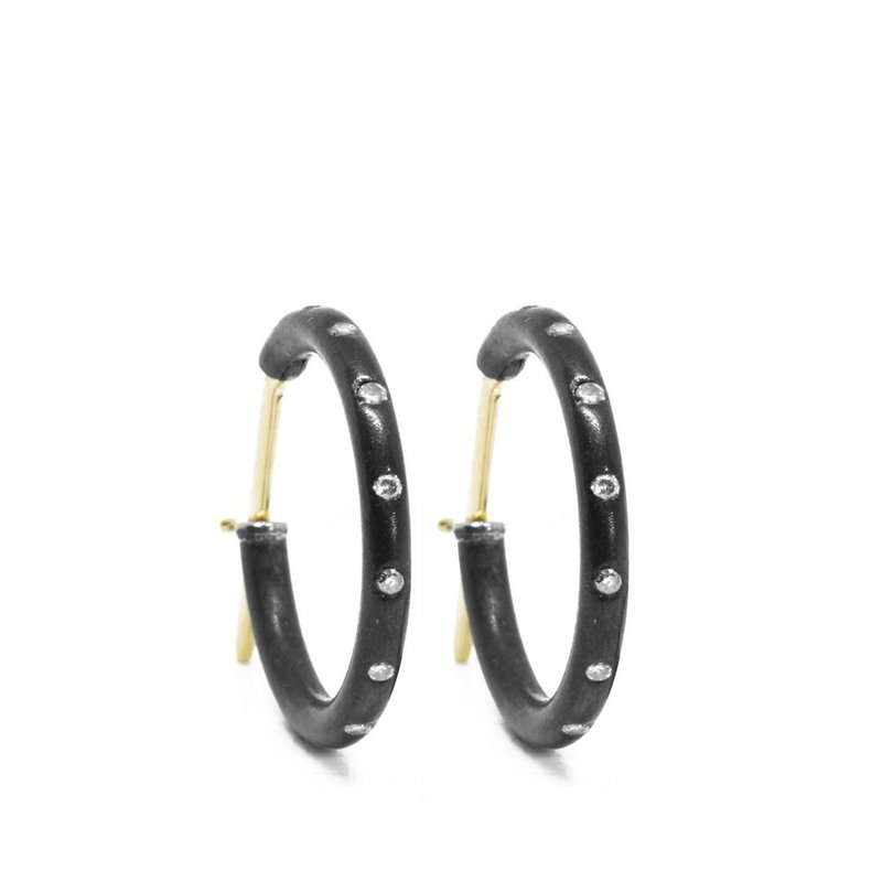 Nina Nguyen Designs Diamond Oxidized Silver Hoop Earrings