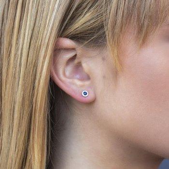 Blue Sapphire & Diamond Halo Post Earrings