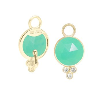 CHRYSOPRASE ROUND 18K EARRING JACKETS
