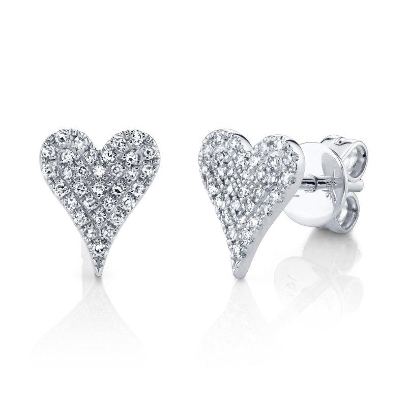 Shy Creation 0.14 ctw Diamond Heart Post Earrings