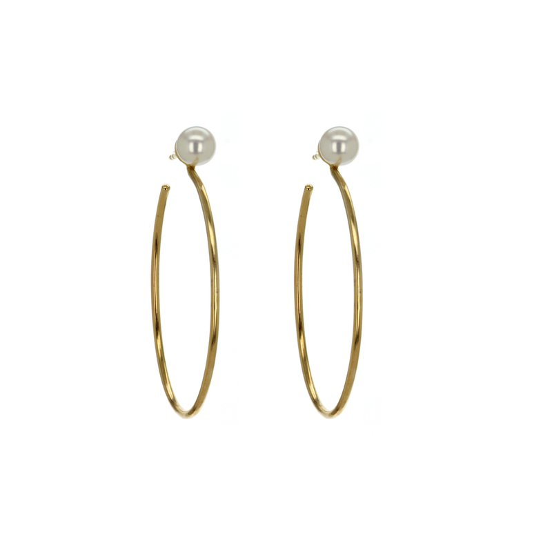 Continental Collection Pearl Hoop Earrings