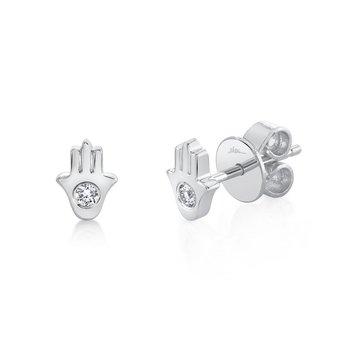 0.06 ctw Diamond Hamsa Post Earrings