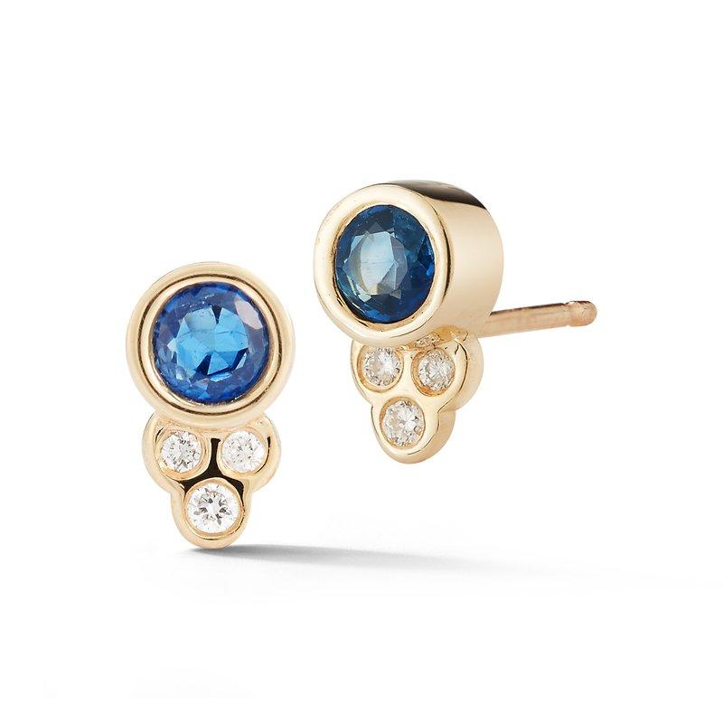 Barbela Design Blue Sapphire & Diamond Post Earrings