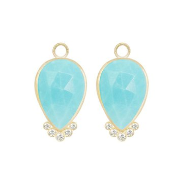 MEDIUM EARRING JACKETS WITH BEZEL SET PEAR TURQUOISE