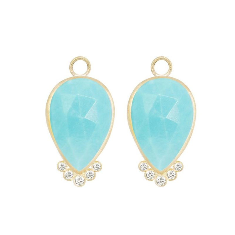 Nina Nguyen Designs MEDIUM EARRING JACKETS WITH BEZEL SET PEAR TURQUOISE
