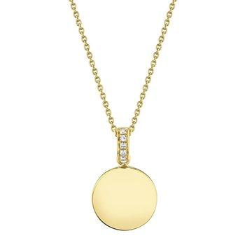 0.02 ctw Diamond Polished Disc Pendant Necklace - Engravable