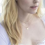 Shy Creation 0.02 ctw Diamond Polished Disc Pendant Necklace - Engravable