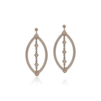 0.30 ctw Diamond & Cable Dangle Post Earrings