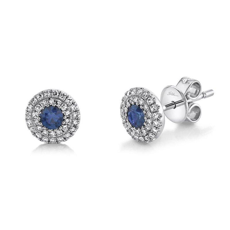Shy Creation Blue Sapphire & Diamond Halo Post Earrings
