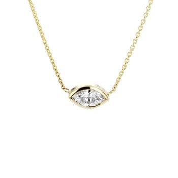 0.30 ct Marquise Diamond Bezel Solitaire Necklace