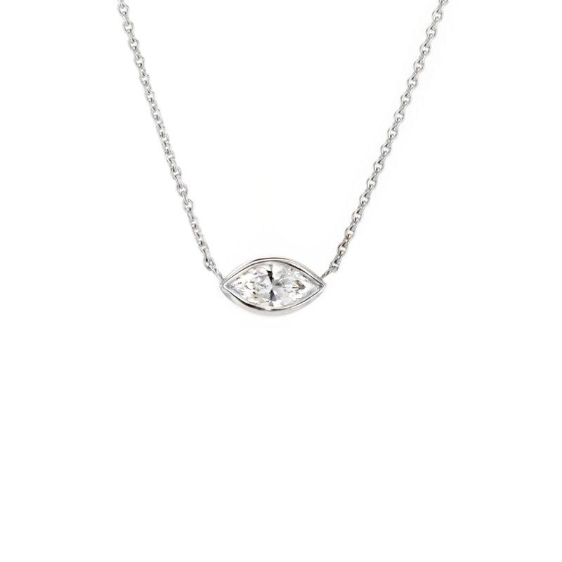 CD Diamonds 0.34 ct Marquise Diamond Bezel Solitaire Necklace