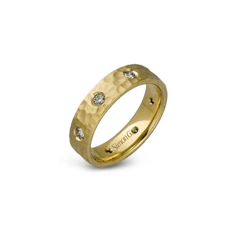 Simon G Jewelry 0.55 ctw Diamond & Hammered Band