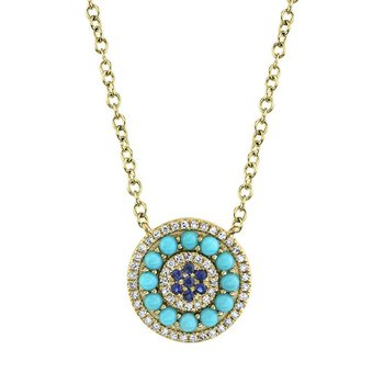 Blue Sapphire, Turquoise & Diamond Pendant Necklace