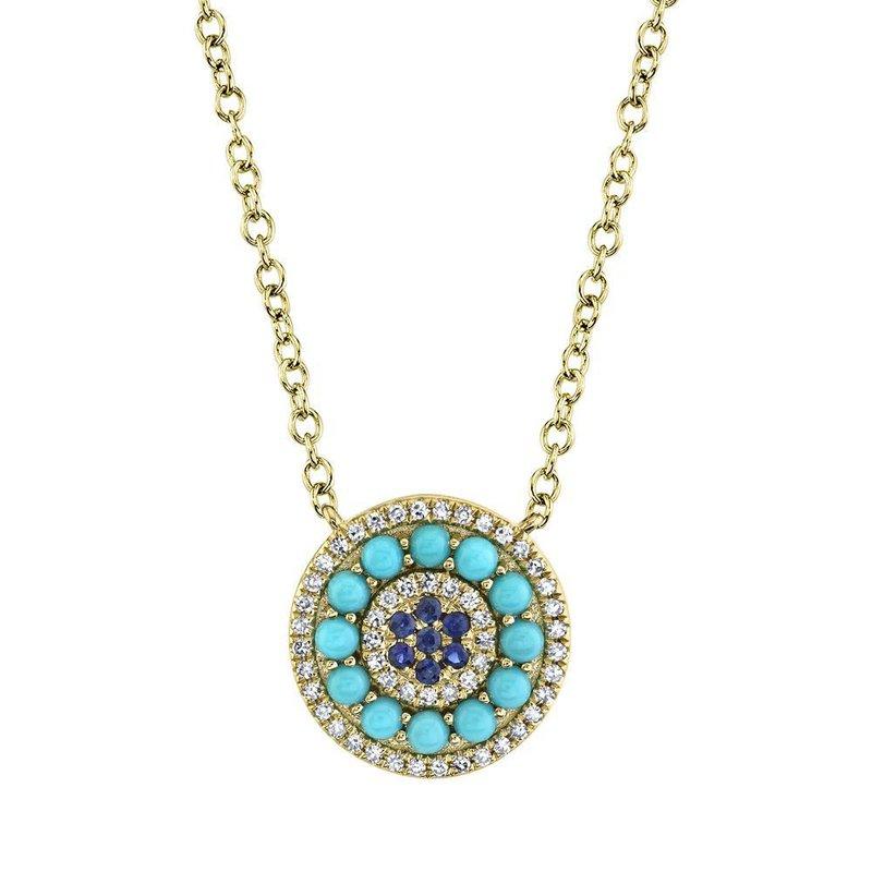 Shy Creation Blue Sapphire, Turquoise & Diamond Pendant Necklace