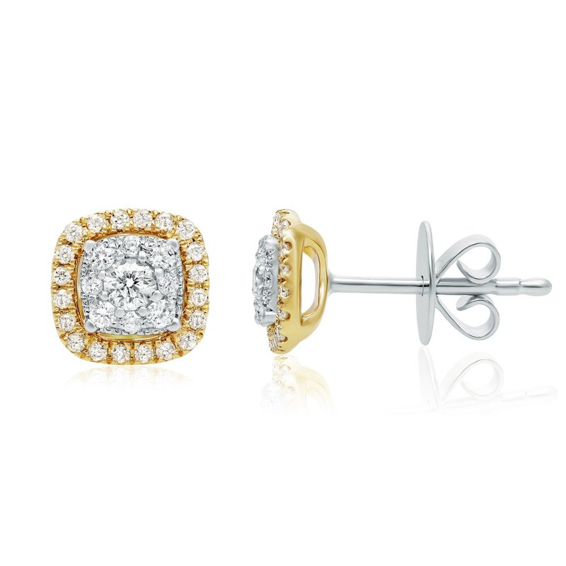 Continental Collection 0.31 ctw Diamond Cluster Post Earrings
