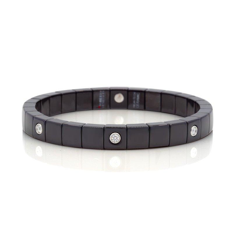 Roberto Demeglio 0.18 ctw Diamond & Ceramic Stretch Bracelet