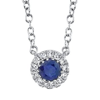 Blue Sapphire & Diamond Halo Necklace