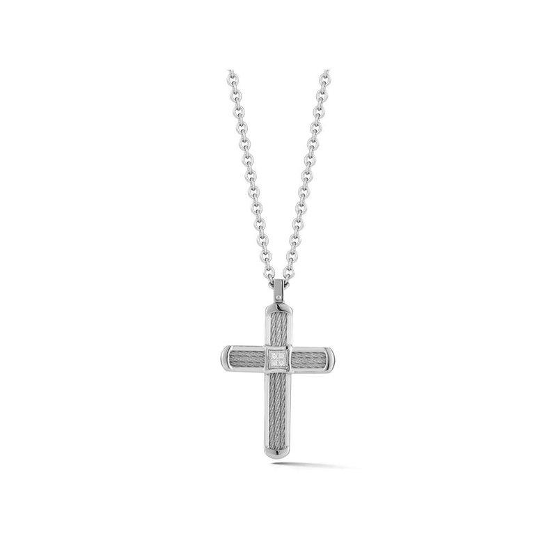 ALOR 0.03 ctw Diamond Cross Necklace
