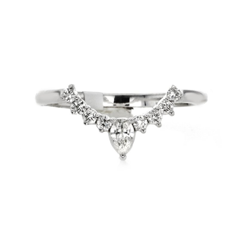 Continental Collection 0.27 ctw Contoured Pear & Round Diamond Band