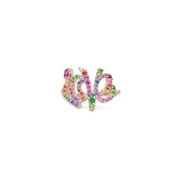 Love Letter Rainbow Multicolored Sapphires Pavé Script Ring