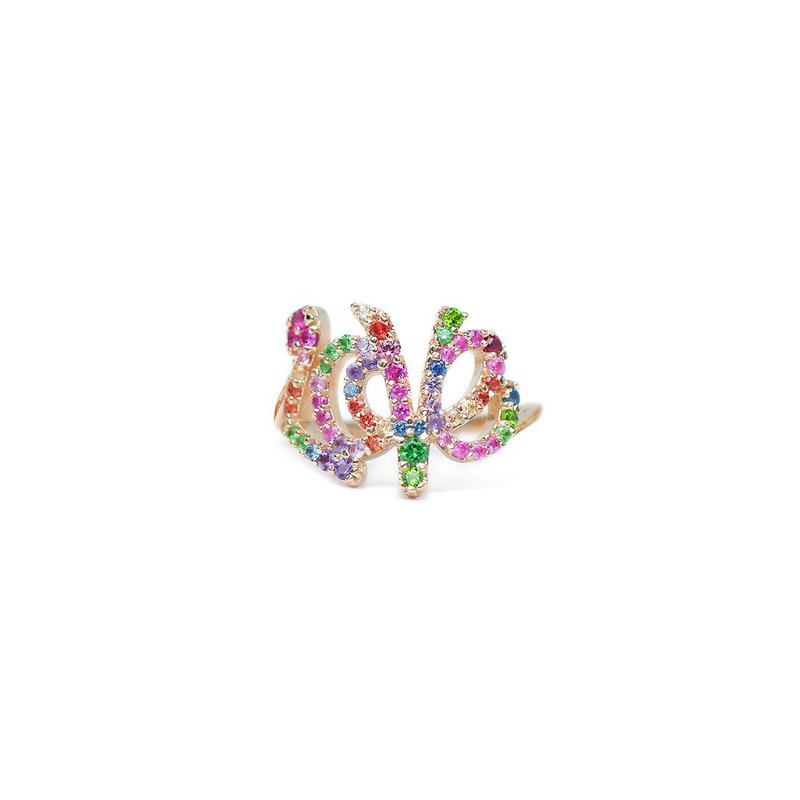 Anzie Love Letter Rainbow Multicolored Sapphires Pavé Script Ring