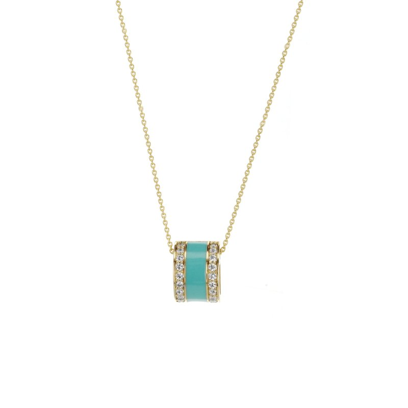 Signature Collection Turquoise Enamel Diamond Necklace