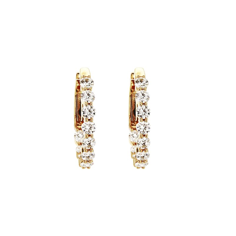 Continental Collection 2.00 ctw Diamond Oval Inside-Out Hoop Earrings