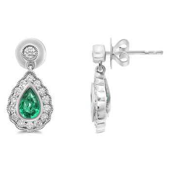 Emerald & Diamond Drop Post Earrings