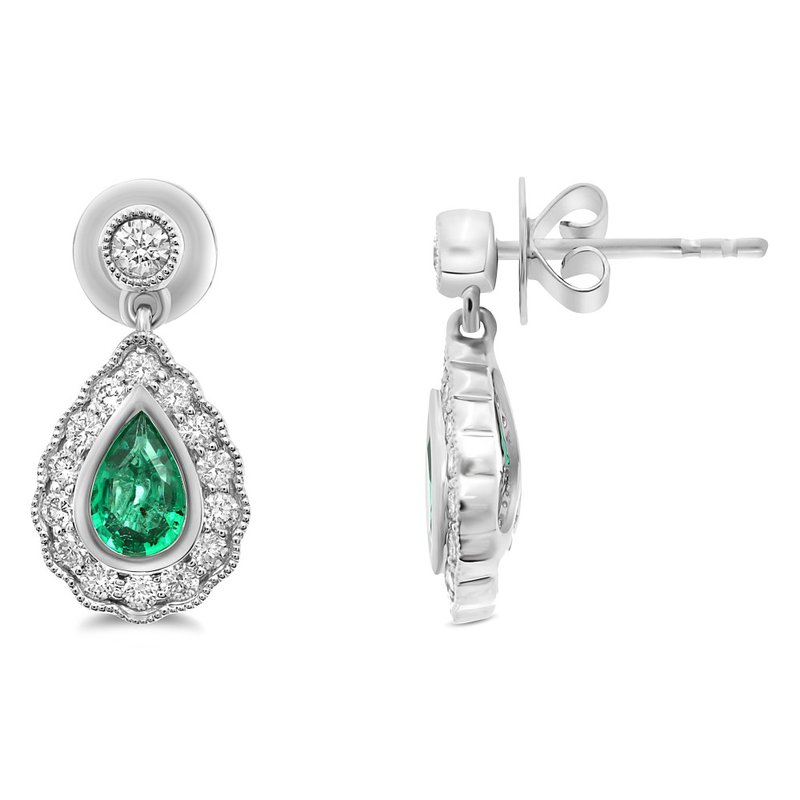 Continental Collection Emerald & Diamond Drop Post Earrings