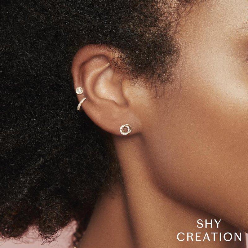 Shy Creation 0.09 ctw Diamond Knot Post Earrings
